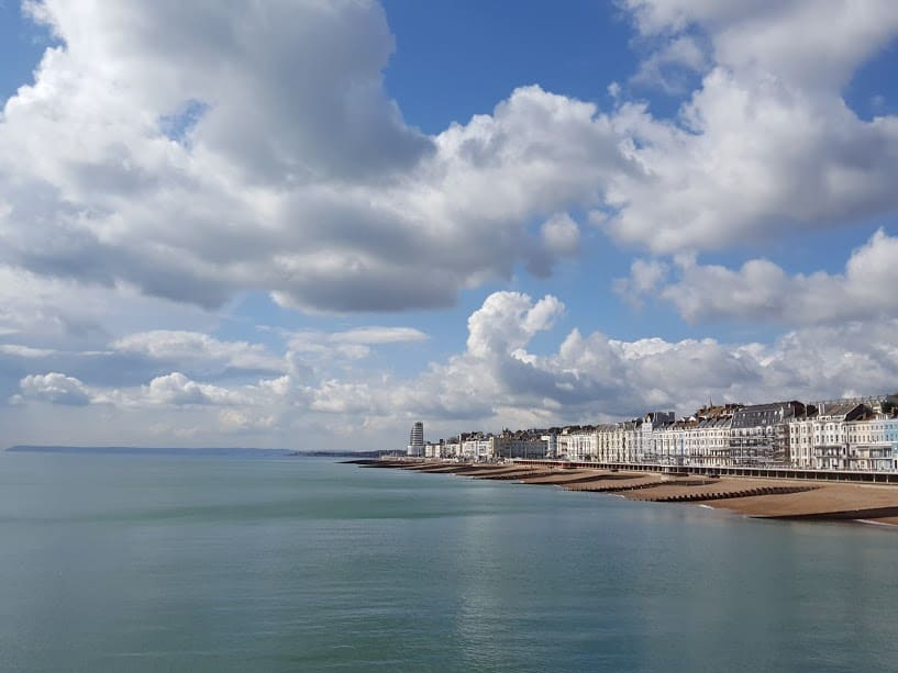 St Leonards Beach - View from Hastings Pier - Dog Walkers